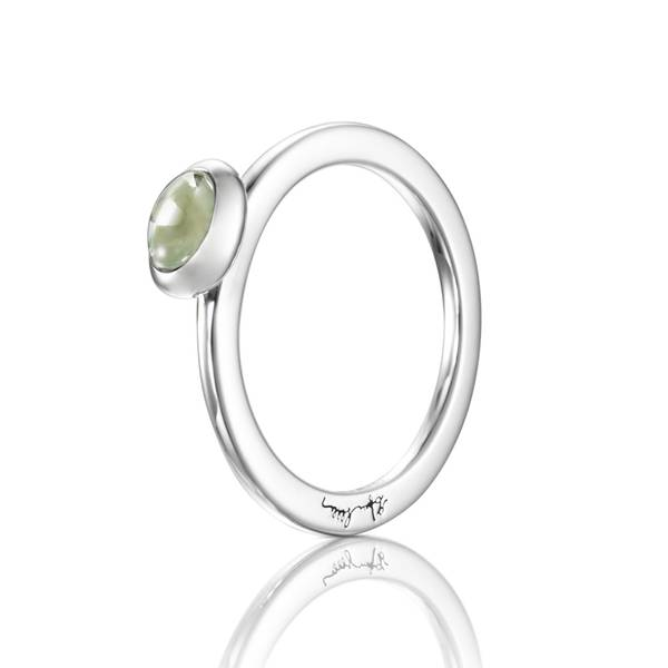 Love Bead Ring Silver - Green Quartz