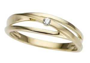 Bilde av Gull ring, matt og blank med diamant