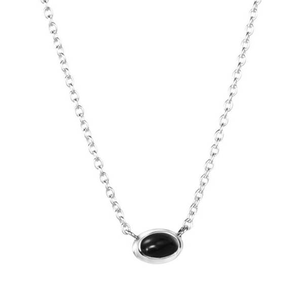 Love Bead Necklace Silver - Onyx