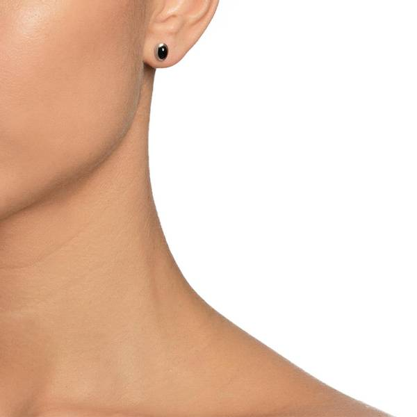 Love Bead Ear Silver - Onyx